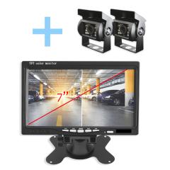 """Sistema visión trasera Yatek con pantalla 7"""" color negro y 2 cámaras a color e infrarrojos. Ideal para cualquier vehículo-"""