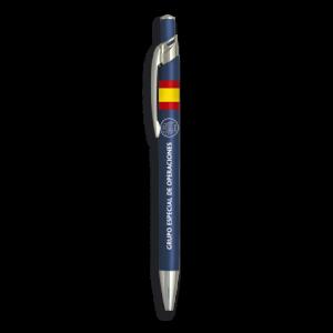 Bolígrafo Albainox de aluminio color azul con Bandera Española + Logo a elegir, 13,8 cm de tamaño, GEO, 03070GR261