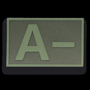 Parche Táctico de Goma Albainox Grupo Sanguíneo ( A - ) Color Verde (5.4x3.4cm) 09286