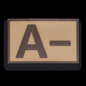 Parche Táctico de Goma Albainox Grupo Sanguíneo ( A- ) Color Marrón (5.4x3.4cm) 09292