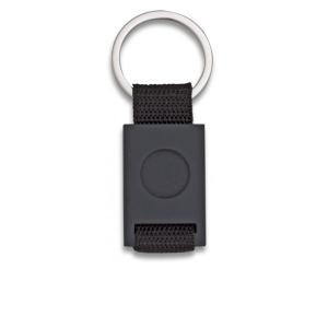 Llavero Rectangular De Metal Albainox, Color Negro + Cinta Negra, Personalizable, En Caja Presentación, 09434