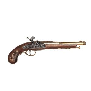 Réplica de Pistola de Percusión de Francia año 1832, de 37 cm, de madera y metal. no funciona, para decoración