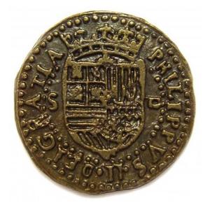 Doblón de oro de 3 cm de la Epoca Colonial y pirata 1492-S. XVIII