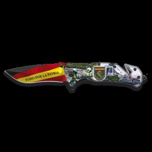 Navaja Táctica Asistida Martinez Albainox Guardia Civil sistema Fos, impresión 3D, mango aluminio, hoja acero inox de 8,2 cm, incluye cutter, cinturón seguridad, clip  caja color 18221-A