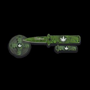 Navaja Martinez Albainox con sistema de apertura FOS Spinner Marihuana con Hoja de acero inox de un solo filo de 6.8 cm, Mango de Aluminio. Incluye caja a color