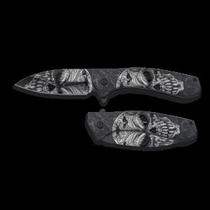 Navaja Albainox Calavera, hoja de acero inox de 9 cm, apertura FOS, mango de aluminio