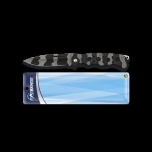Navaja Albainox con hoja de 7,5 cm de acero inox, mango de acero, color gris y negro