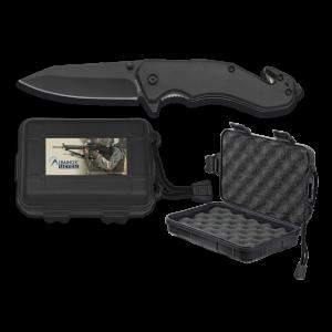 Navaja táctica Albainox, hoja de 8,5 cm de acero inox, mango ABS, con punta rompevidrio y clip, en caja de ABS