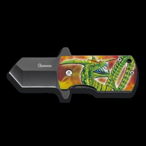 Navaja Albainox 3D dragón, hoja de 4 cm de acero inox, mango de aluminio