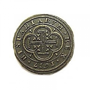 Doblón pieza de 10 escudos de la Epoca Colonial y Pirata 1492-S. XVIII de 4 cm