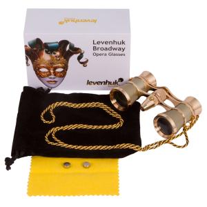 Prismáticos para ópera Levenhuk Broadway 325F (dorados, con luz LED y cadena)
