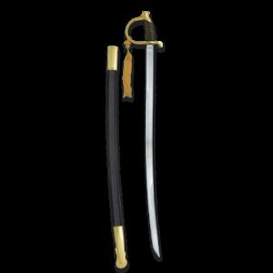 Espada De Caballeria Dorada En Acero Inoxidable con una longitud de 84 cm y hoja de acero inoxidable 31744
