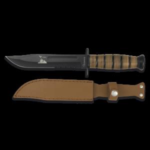 Cuchillo Martinez Albainox de Supervivencia y Hoja de Acero Inox Negra de 18 cm Incluye Funda de Piel 31762