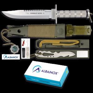 Cuchillo de Supervivencia Martinez Albainox Combat King I con Mango de Aluminio y Hoja de Acero Inox de 20.5 cm Incluye Funda nylon -PVC 31771
