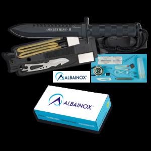 Cuchillo de Supervivencia Martinez Albainox Combat King Ii con Mango de Aluminio y Hoja de Acero Inox de 16 cm Incluye Funda piel PVC 31772