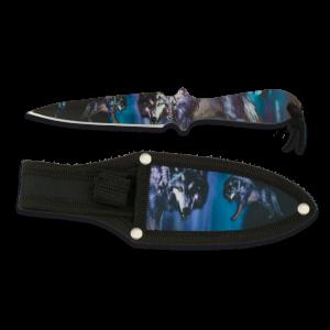 Cuchillos Lanzador impresión Fotográfica 3d Lobo, hoja de acero inox , tamaño 17 cm con funda nylon