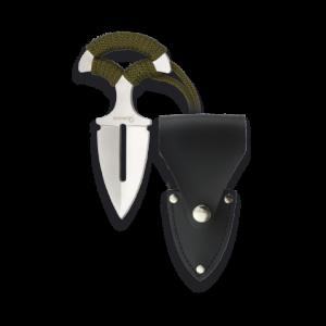 Cuchillo Táctico Martinez Albainox con mango de acero encordado,  Hoja de acero inoxidable de  7 cm , incluye funda de piel sintética