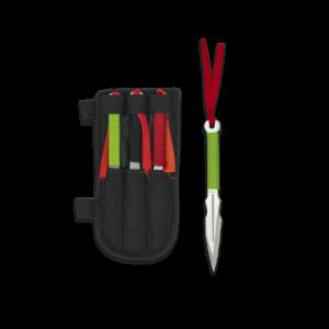 Cuchillos Lanzadores Martinez Albainox, Set 3 piezas con Hoja de Acero Inox de 16 cm. Incluye Funda nylon