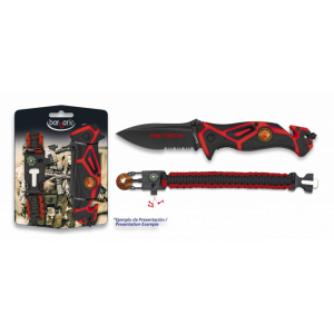 Set de navaja Albainox Fire Fighter + paracord, color rojo, en blister