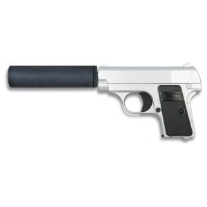 Pistola Airsoft de muelle serie metálica color plata Galaxy peso 366g Calibre 6 mm Potencia 68 m/s 35720