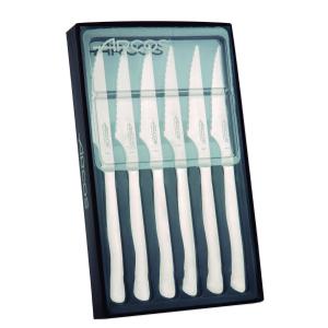 Juego de Cuchillos Chuleteros  Arcos de Mesa 378000 monoblock de una pieza de acero inoxidable, hoja de 10 cm en estuche 6 piezas