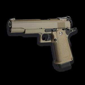 Pistola de Airsoft de GAS Golden Eagle 3304 Color TAN - Full Metal Blowback 310 fps 95 ms Bolas 6mm, energía 0,90 Julios,  Peso 967 gramos.
