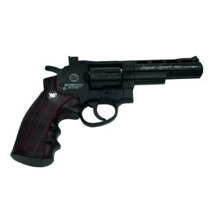 Pistola Revólver Magnum Super Sport tipo Python Full Metal calibre 4.5 mm - Negro - CO2 - Energia 1.23 Julios - Velocidad de disparo 128m/s - 420 FPS. Ref: 701N