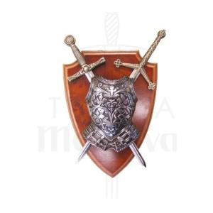 Armadura y Panoplia con coraza de 2 Espadas de la Epoca Medieval S VI - XV de 25 cm
