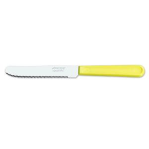 Cuchillo de mesa Arcos de Mesa 802900 monoblock de una pieza de acero inoxidable, mango de color amarillo  y hoja de 11 cm en caja.