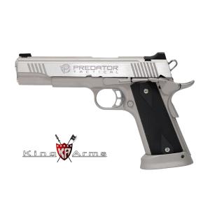 Pistola Airsoft GAS C02 6mm 285 fps Blowback KING ARMS Predator Iron Shrike Plateada -  6 Mm GBB