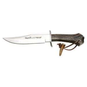 Cuchillo de caza Muela Albar ALBAR-18H, con mango de asta de ciervo y defensa inox, hoja de 18 cm MOVA + tarjeta multiusos de regalo
