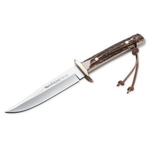 Cuchillo de caza Muela Bowie Classic BW-CLASIC-13A, cachas de asta de ciervo y latón, enterizo, hoja de 13 cm MOVA + tarjeta multiusos de regalo