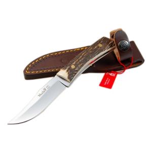 Cuchillo de caza Muela Bowie BWE-8A, puño de asta de ciervo y cruceta inoxidable, hoja de 8 cm MOVA, tamaño total 16 cm + tarjeta multiusos de regalo