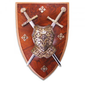 Armadura y Panoplia con coraza de 2 Espadas de la Epoca Medieval S VI - XV de 29 cm