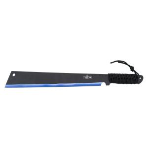 Machete cortacañas Third H0067BL hoja de acero inox negra con el corte anodizado en azul de 38 cm con mango de cuerda trenzada, con funda de nylon