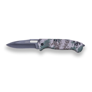 Navaja con apertura manual JKR, hoja pavonada de 8,5 cm de acero inox, mango de aluminio color camo digital, clip cinturón y rompecristales, JKR0527