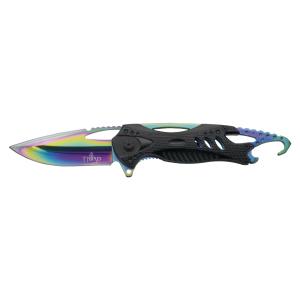 Navaja asistida Third K2794BK, mango de aluminio negro, hoja de acero inox de 8.5 cm bañada en titanio rainbow brillante, punta rompe vidrio y abre botellas y funda de nylon