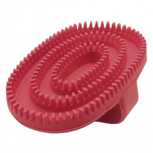 Cepillo de goma oval rojo para perros y gatos de pelo corto, ayuda a retirar pelo viejo o muerto