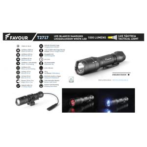 Linterna Favour Recargable, con batería de 2600 mAh, luz LED de 1000 Lm, alcance 210 metros, resistente a impactos, polvo y agua