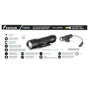 Linterna Favour recargable de 720 lumens, 180 metros de alcance, resistente a caidas, polvo y agua, batería de 650 mAh